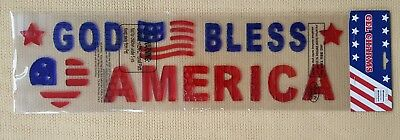 New Patriotic Fourth of July Gel Window Cling Charms God Bless America
