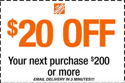 ONE 1x HOME DEPOT 20 OFF 200 PROMOTION DISCOUNT - INSTORE FAST SHIPMENT