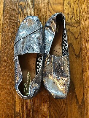 Womens Toms Silver Gray Sequin Slip-On Shoes Size 9-5
