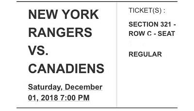 2 Tickets Montreal Canadians Vs New York Rangers 12118 Bell Centre