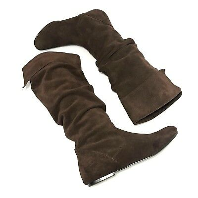 Steve Madden Brown Suede Fold Over Mid-Calf High Boots SZ 8