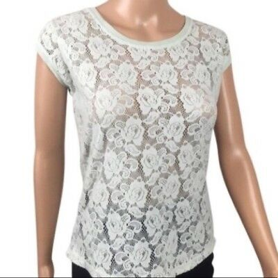 Zara Womens Blouse Small Blue Floral Lace Short Sleeve
