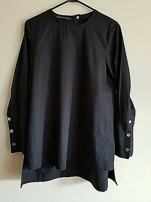 Womens Zara Blouse Long 100 Cotton Wide Cuff With 3 Large Sliver Snaps