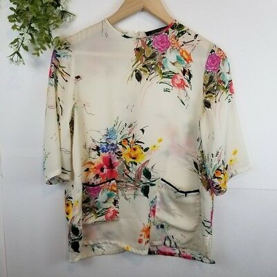 Zara Cream with floral Print Half Sleeve Blouse Womens S Small