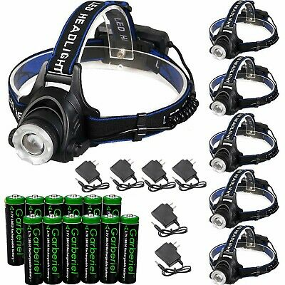 90000Lumens T6 LED Zoomable Headlamp Rechargeable 18650 Headlight Head Lamp New