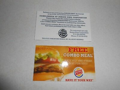 Lot of 30 pick your own combo meal cards