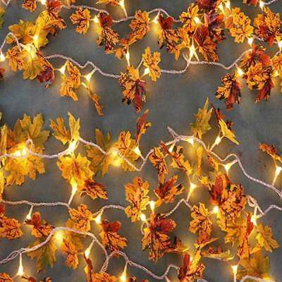 10M 100 LED Thanksgiving Harvest Maple Leaves Lighted Fall Garland String Lights