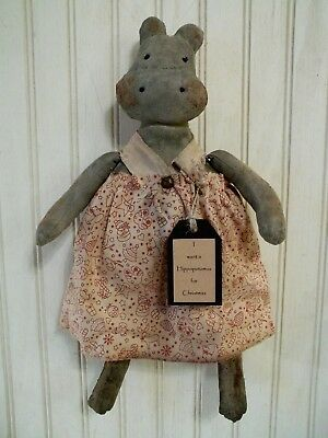 Primitive Grungy I want a Hippopotamus for Christmas Hippo Doll