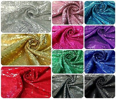 3mm Micro Mini Shiny Sequins on Stretch Knit Jersey Polyester Spandex Fabric
