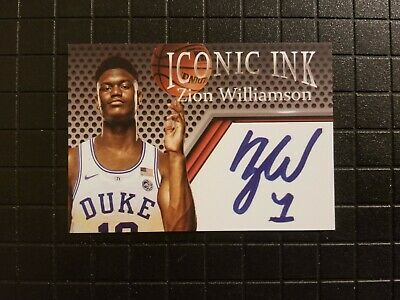 Zion Williamson Rookie Iconic Ink Duke Autograph Edition Card  FREE SHIPPING