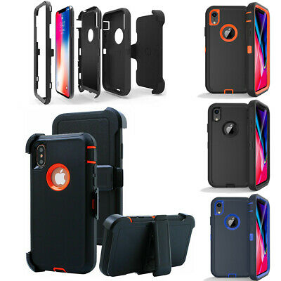 For iPhone XR XS Max Armor Hybrid Case Cover Belt Clip Fits Otterbox Defender