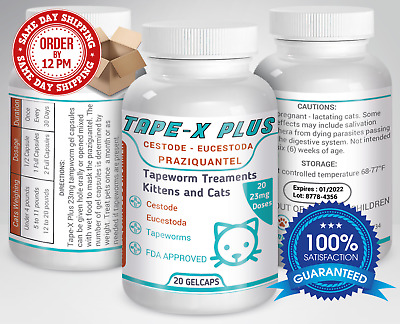 Tape-X Plus Dewormer 20 GelCaps Tapeworm For Cats Similar to Tradewinds Droncit