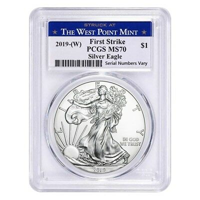 2019 W 1 oz Silver American Eagle 1 Coin PCGS MS 70 First Strike West Point