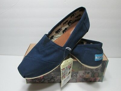 TOMS Authentic CLASSIC Womens NAVY Canvas Flats Slip On Shoes NEW US Size 8-5