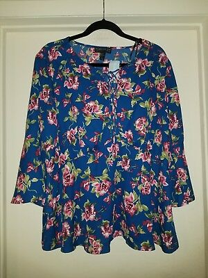 FOREVER 21 PLUS SIZE BLUE FLORAL BELL SLEEVE BOUSE SIZE 2X NWT