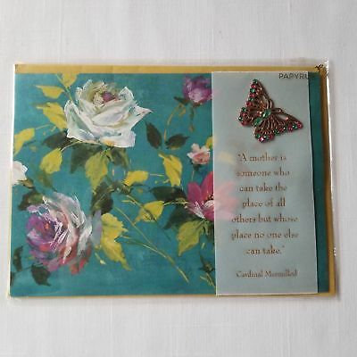 Papyrus Mothers Day Card w Gem Butterfly Bookmark w Cardinal Mermillod quote