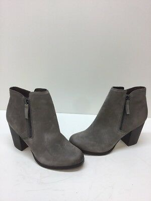 ALDO 'Emely' Gray Leather Side Zip Block Heel Ankle Boots Womens Size 7-5