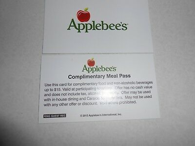 Lot of 5 Applebees 15 dollar meal cards