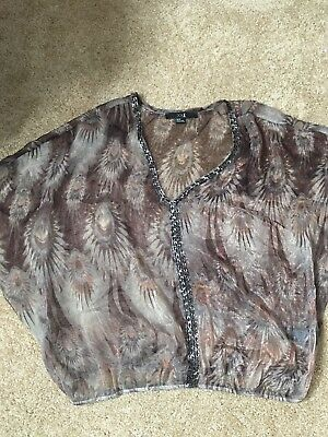 Forever 21 Grey Feather Batwing Blouse Medium