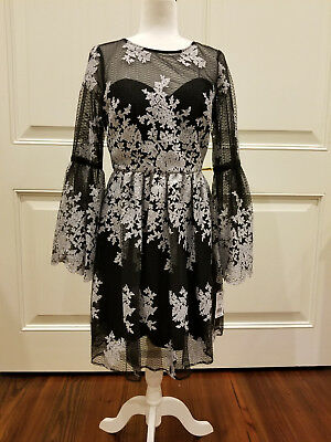 NWT Black Silver Floral Sheer Dress NICOLE MILLER Size 8 Embroidered Bell Sleeve