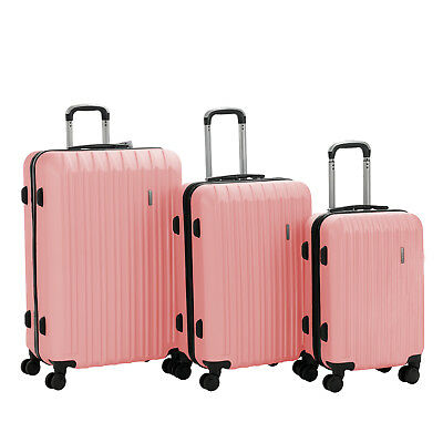 3PCS Luggage Set Travel Bag Trolley Spinner Carry On Suitcase 20 24 28 Pink