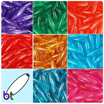 BeadTin Transparent 19mm Spaghetti Plastic Beads 200pcs - Color choice