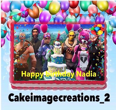 Fortnite Birthday Cake Battle Royale  Image Party Edible Topper 14 Sheet