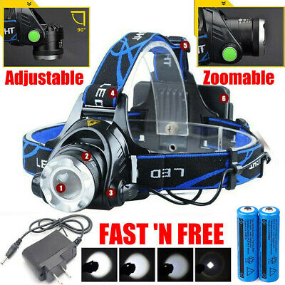 150000LM Rechargeable Head light T6 LED Tactical Headlamp Zoomable-Charger-18650