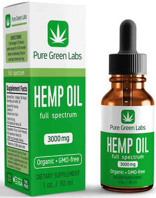 BUY 2 GET 1 FREE - Pure Green Labs Hemp Oil - 3000mg - Pain Anxiety