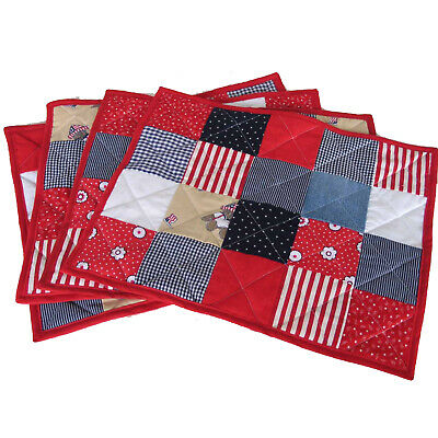 Set 4 Place Mats Memorial Day Fourth of July Handmade Quilt Red White Blue17x14