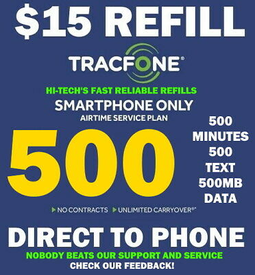 500 MINUTES TRACFONE REFILL 15 ⚡ DIRECT to PHONE ⚡ GET IT TODAY ⚡