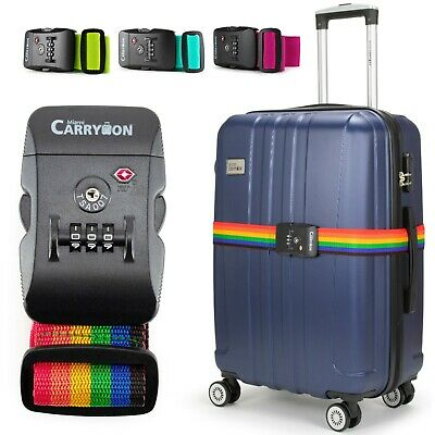 Miami CarryOn Adjustable Luggage Strap with a Built-in TSA Combination Lock
