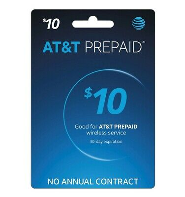 AT-T Prepaid 10 Refill Top-Up Prepaid Card - Super Fast Email Delivery