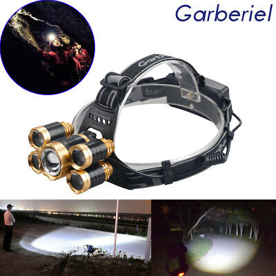 Zoomable 80000Lumens 5x T6 LED 18650 4Modes Powerful Headlamp HeadLight Hot sale