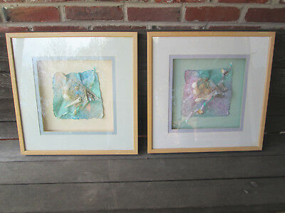 2 Paper Art 1993 Signed Matted and Shadow Box Framed 17x17 Pastel Ocean Findings