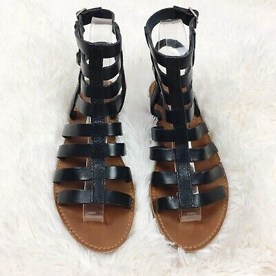 Steve Madden Womens 5M Black Beeast Leather Gladiator Sandals Caged Buckle