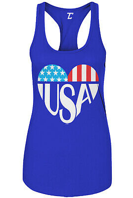 USA Heart - Love 4th of July Fireworks Patriotic Party Womens Racer Tank
