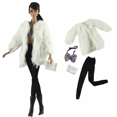 Doll Accessories Set Fashion Clothes Fur Coat Pants For 11-5 16 Doll Purse Toy