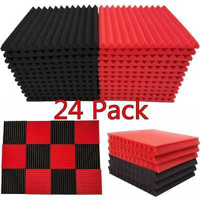 24 Pack Acoustic Foam Panel Wedge Studio Soundproofing 1 X 12 X 12 Wall Tiles
