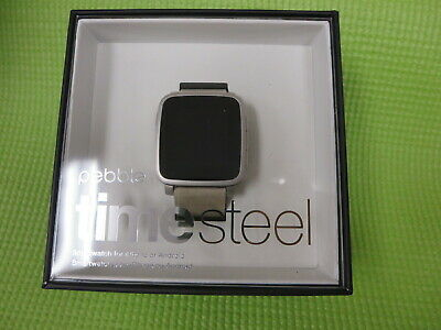 Pebble Time Steel Smartwatch for AppleAndroid Devices - Gray 511-00023 - New