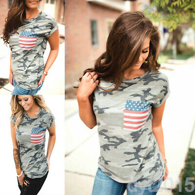 American Flag Graphic Women Patriotic T-shirt 4th of July Casual Design Printed
