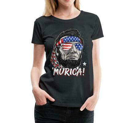 Murica Abraham Lincoln Funny 4th Of July Women's Premium T-Shirt by