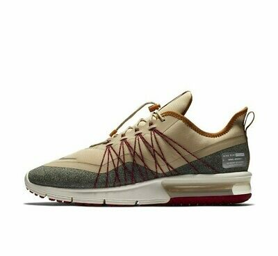 Nike Air Max Sequent 4 Utility AV3236-200 Tan Ore Red Grey Mens Running Shoes