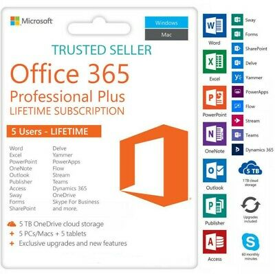 Microsoft Office 365 Pro 2019 Account License 5 Users 5 TB Onedrive PCMobile