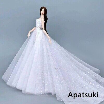White High Fashion Wedding Dress For 16 Doll Clothes Party Gown For 11-5in Doll