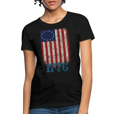 Betsy Ross 4th Of July American Flag 1776 Retro Womens T-Shirt