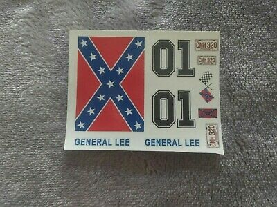 General Lee  124  scale water slide decals on Clear Backing