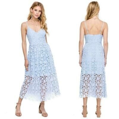 NEW ASTR The Label PERIWINKLE Plunging Neck LACE A LINE Prairie MIDI DRESS XL