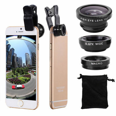 3 in1 Fish Eye- Wide Angle - Macro Camera Clip-on Lens for Universal Cell Phone