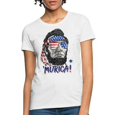 Merica Abe Lincoln Funny 4th Of July Womens T-Shirt by Spreadshirt™